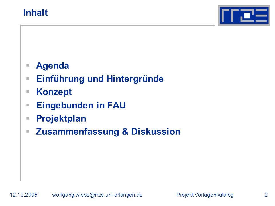 Einführung und Hintergründe Konzept Eingebunden in FAU Projektplan