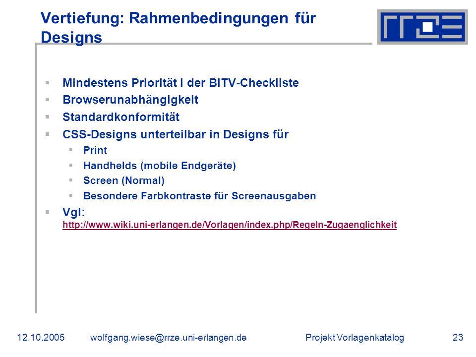 Vertiefung: Rahmenbedingungen für Designs