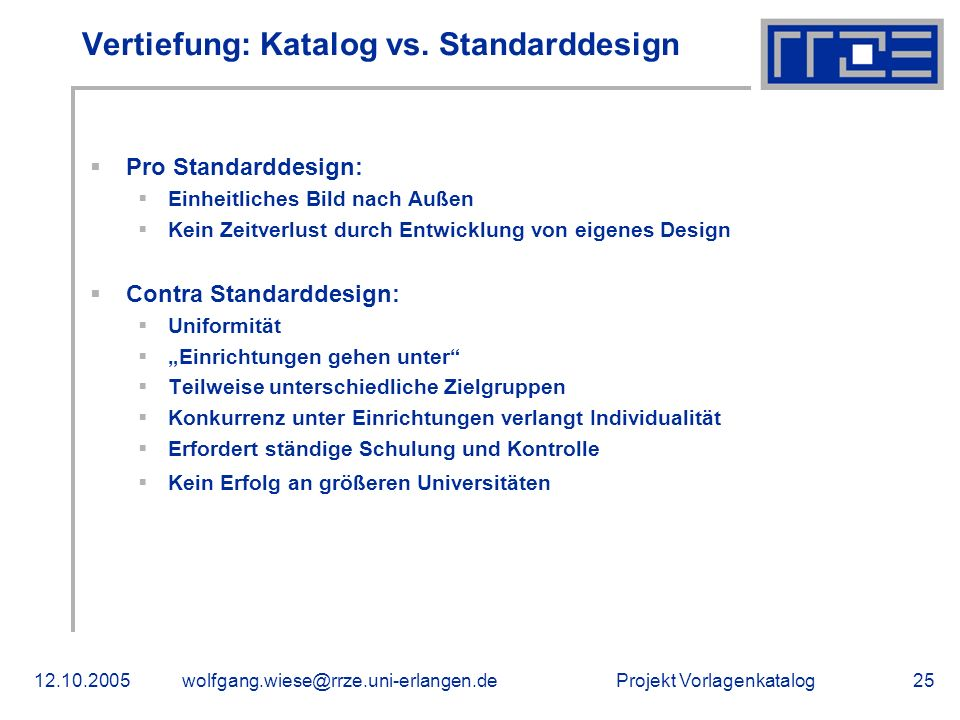 Vertiefung: Katalog vs. Standarddesign