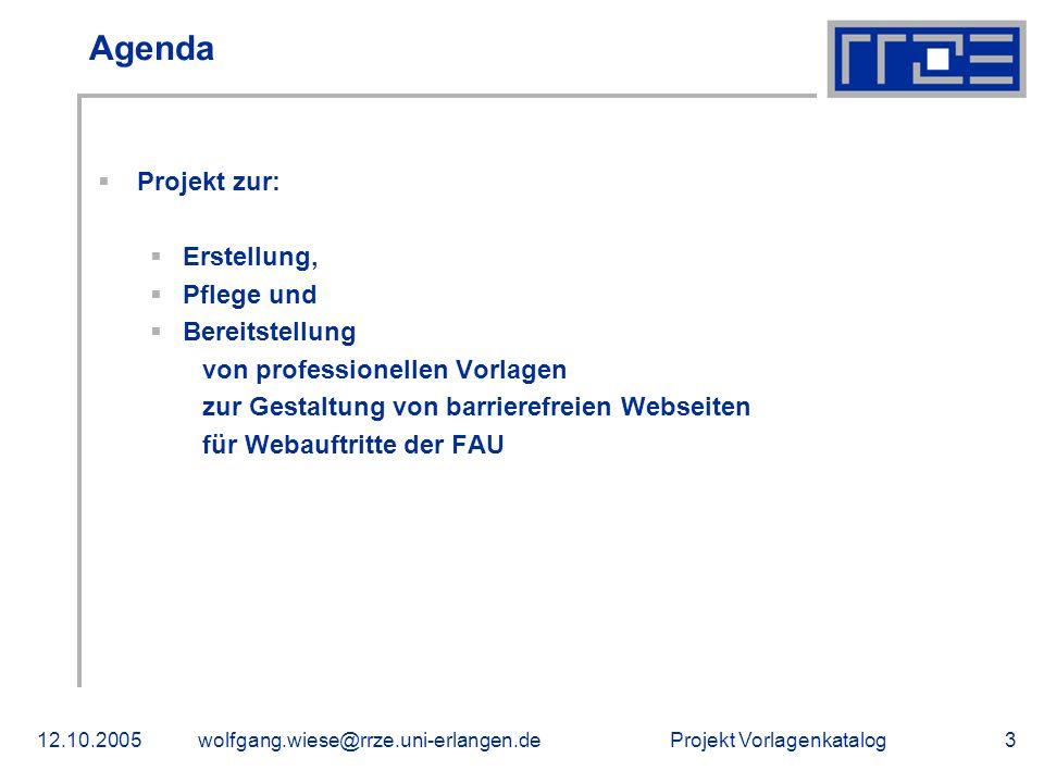 Agenda Projekt zur: Erstellung, Pflege und Bereitstellung