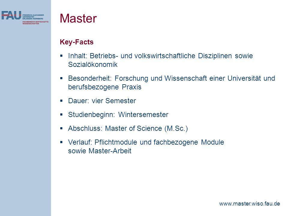 Master Key-Facts. Inhalt: Betriebs- und volkswirtschaftliche Disziplinen sowie Sozialökonomik.