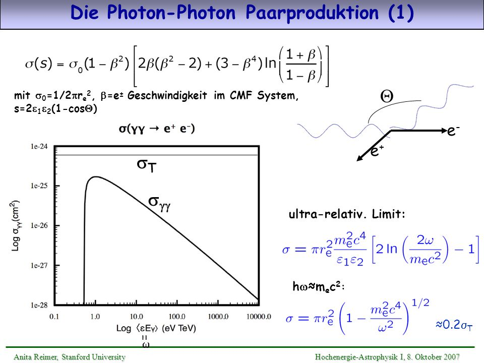 Die Photon-Photon Paarproduktion (1)