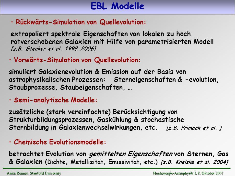 EBL Modelle Rückwärts-Simulation von Quellevolution: