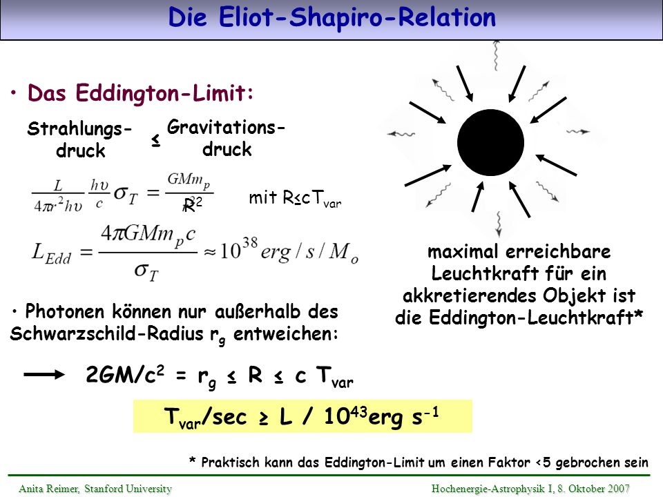 Die Eliot-Shapiro-Relation