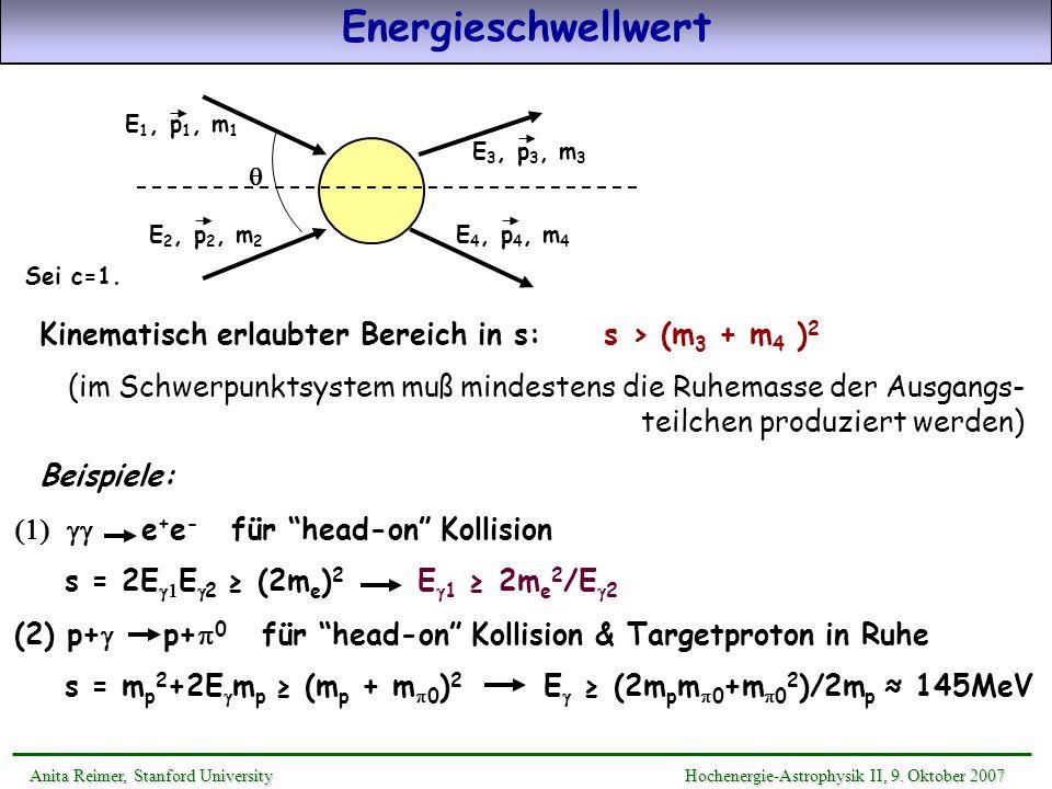 Energieschwellwert E1, p1, m1. E2, p2, m2. E3, p3, m3. E4, p4, m4. Sei c=1. q. Kinematisch erlaubter Bereich in s: s > (m3 + m4 )2.