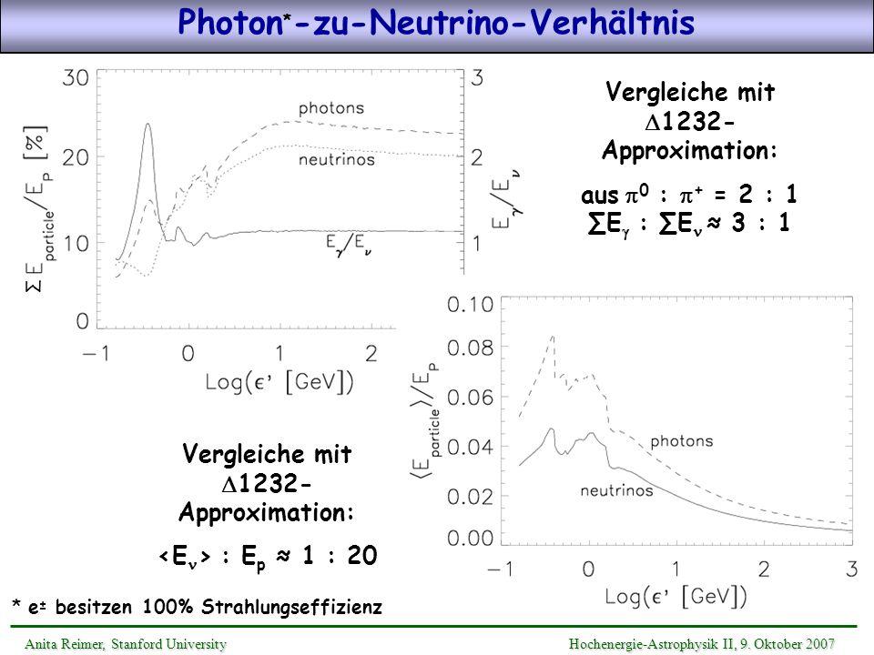 Photon*-zu-Neutrino-Verhältnis Vergleiche mit D1232-Approximation: