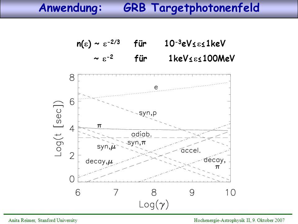 Anwendung: GRB Targetphotonenfeld n(e) ~ e-2/3 für 10-3eV≤e≤1keV