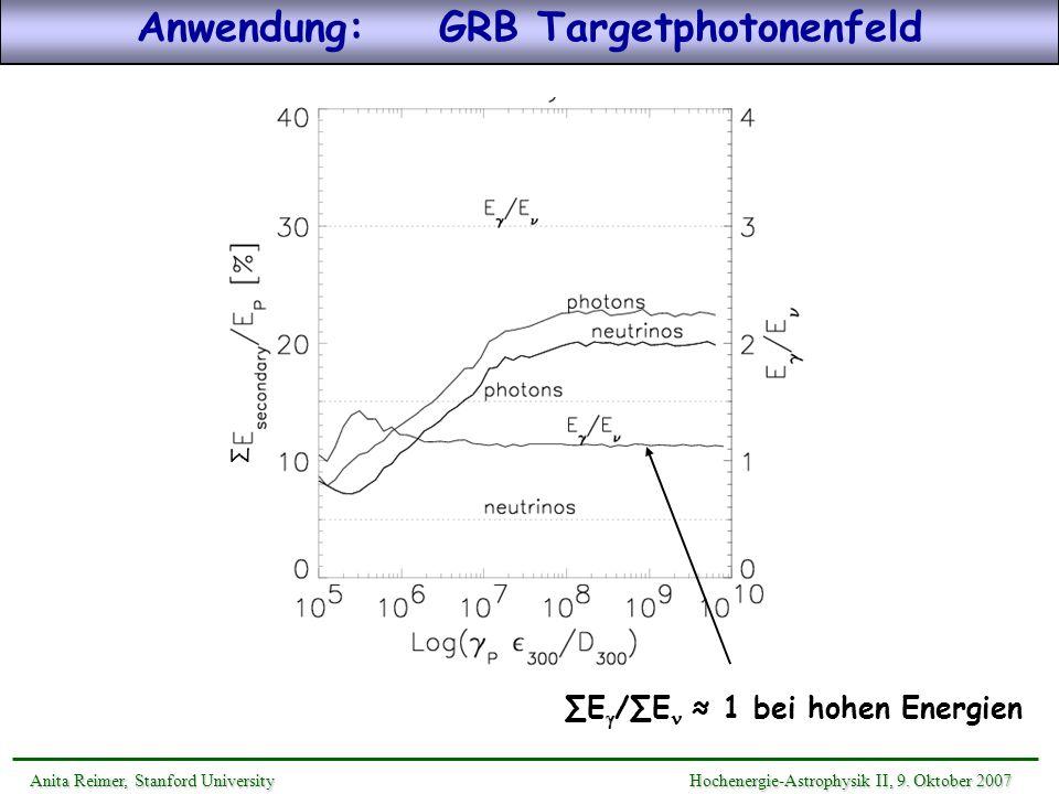 Anwendung: GRB Targetphotonenfeld
