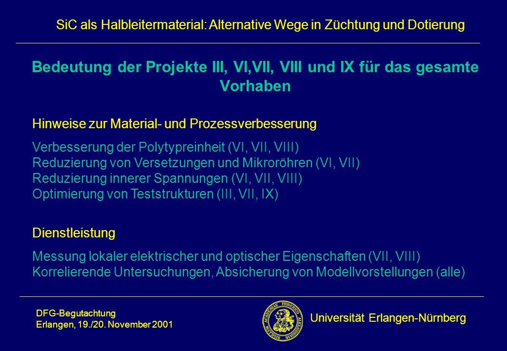 Bedeutung der Projekte III, VI,VII, VIII und IX für das gesamte Vorhaben