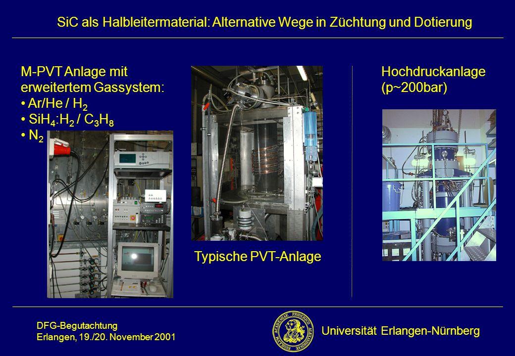 M-PVT Anlage mit erweitertem Gassystem: Ar/He / H2. SiH4:H2 / C3H8. N2. Hochdruckanlage. (p~200bar)