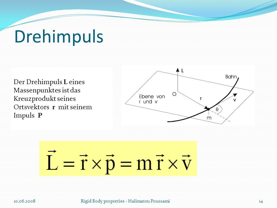 Drehimpuls Der Drehimpuls L eines Massenpunktes ist das Kreuzprodukt seines Ortsvektors r mit seinem Impuls P.