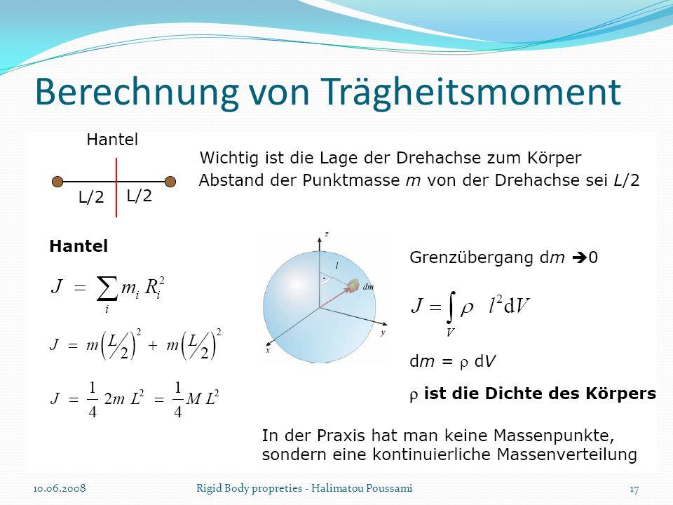 Berechnung von Trägheitsmoment