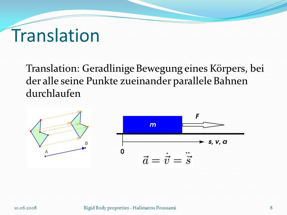 Translation Translation: Geradlinige Bewegung eines Körpers, bei der alle seine Punkte zueinander parallele Bahnen durchlaufen.