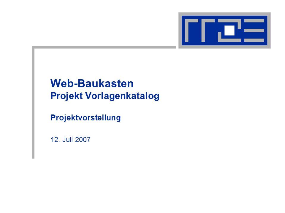 Web-Baukasten Projekt Vorlagenkatalog