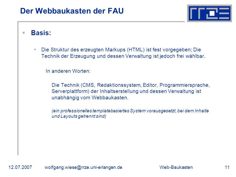 Der Webbaukasten der FAU