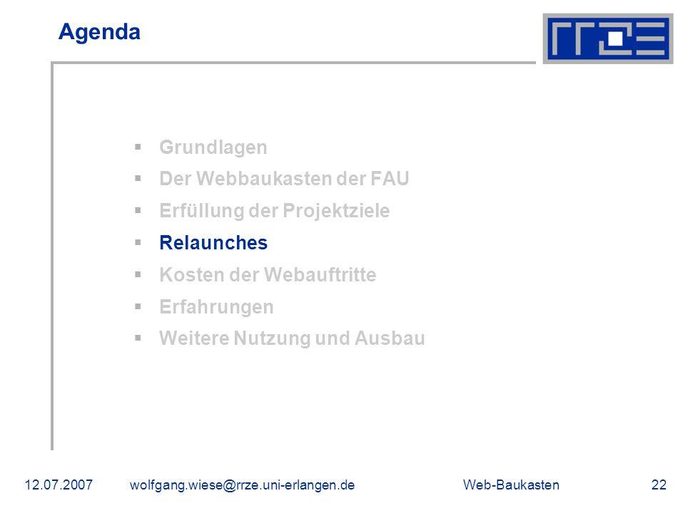 Agenda Grundlagen Der Webbaukasten der FAU Erfüllung der Projektziele