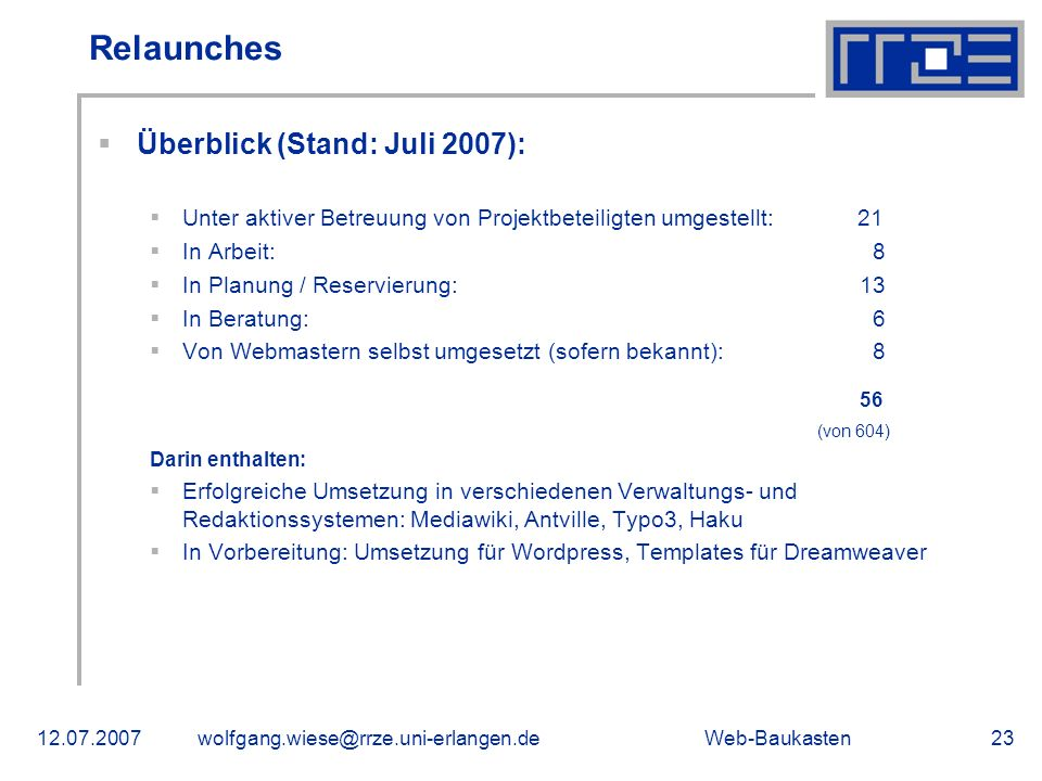 Relaunches Überblick (Stand: Juli 2007):