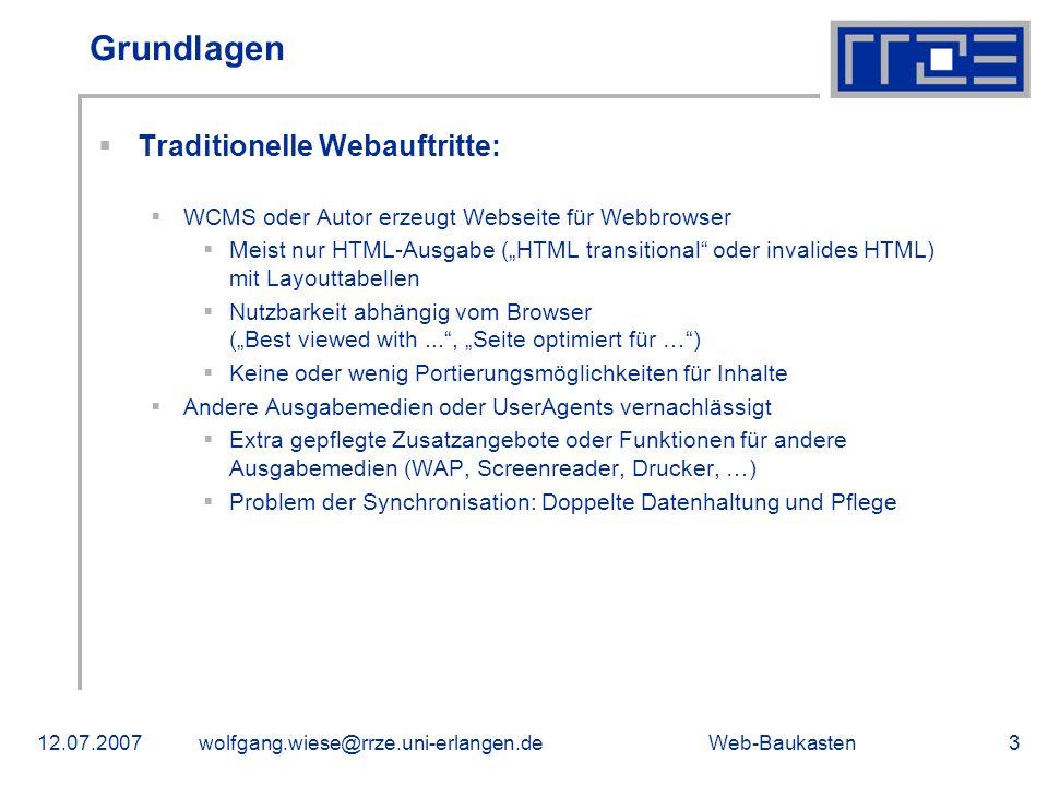 Grundlagen Traditionelle Webauftritte: