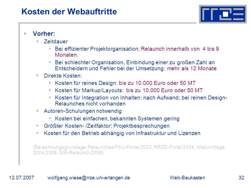 Kosten der Webauftritte