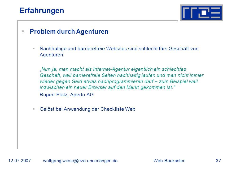 Erfahrungen Problem durch Agenturen
