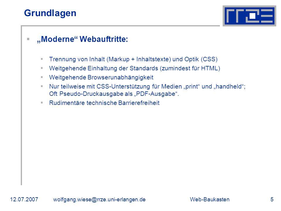 """Grundlagen """"Moderne Webauftritte:"""
