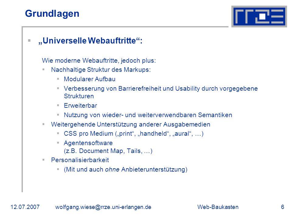 """Grundlagen """"Universelle Webauftritte :"""