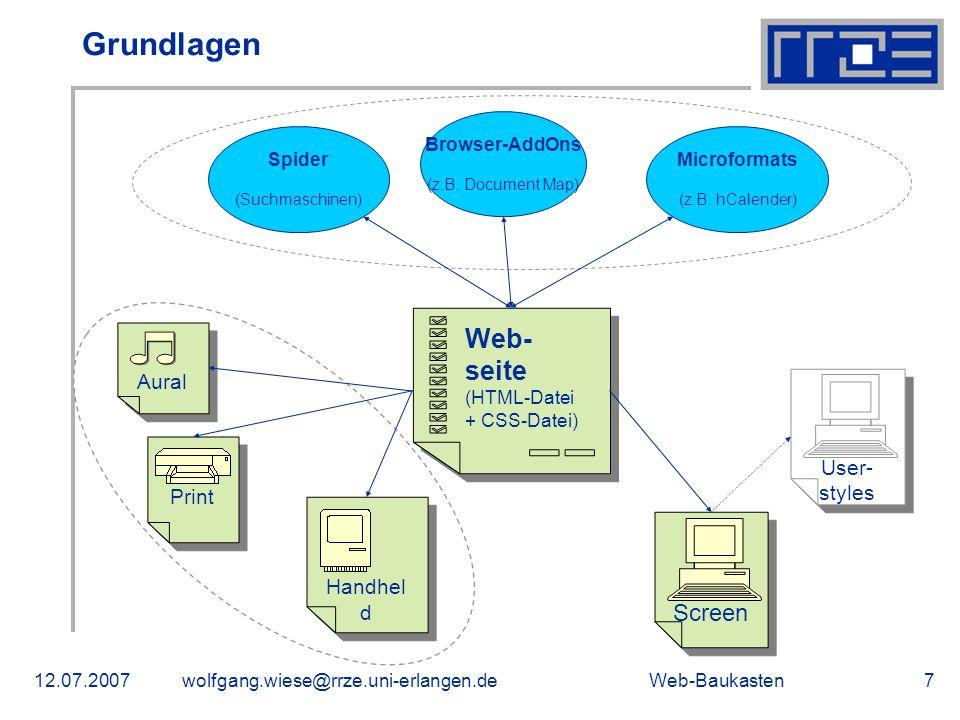 Grundlagen Web-seite Screen Aural User-styles Print Handheld