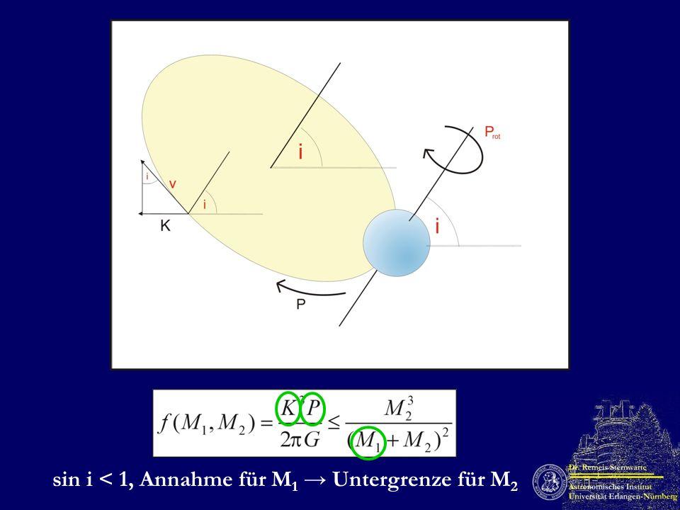 sin i < 1, Annahme für M1 → Untergrenze für M2