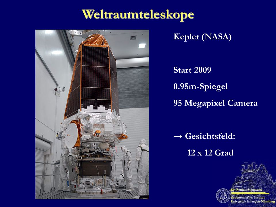 Weltraumteleskope Kepler (NASA) Start 2009 0.95m-Spiegel