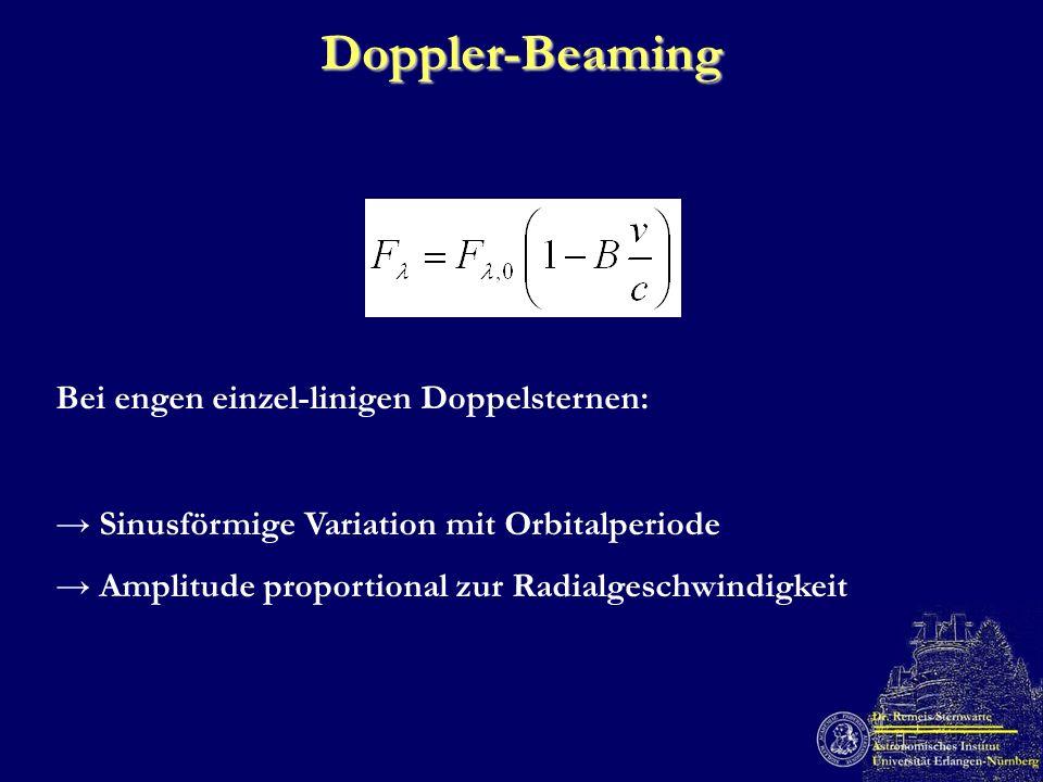 Doppler-Beaming Bei engen einzel-linigen Doppelsternen:
