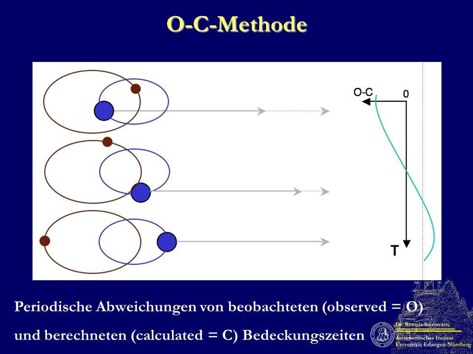O-C-Methode Periodische Abweichungen von beobachteten (observed = O)