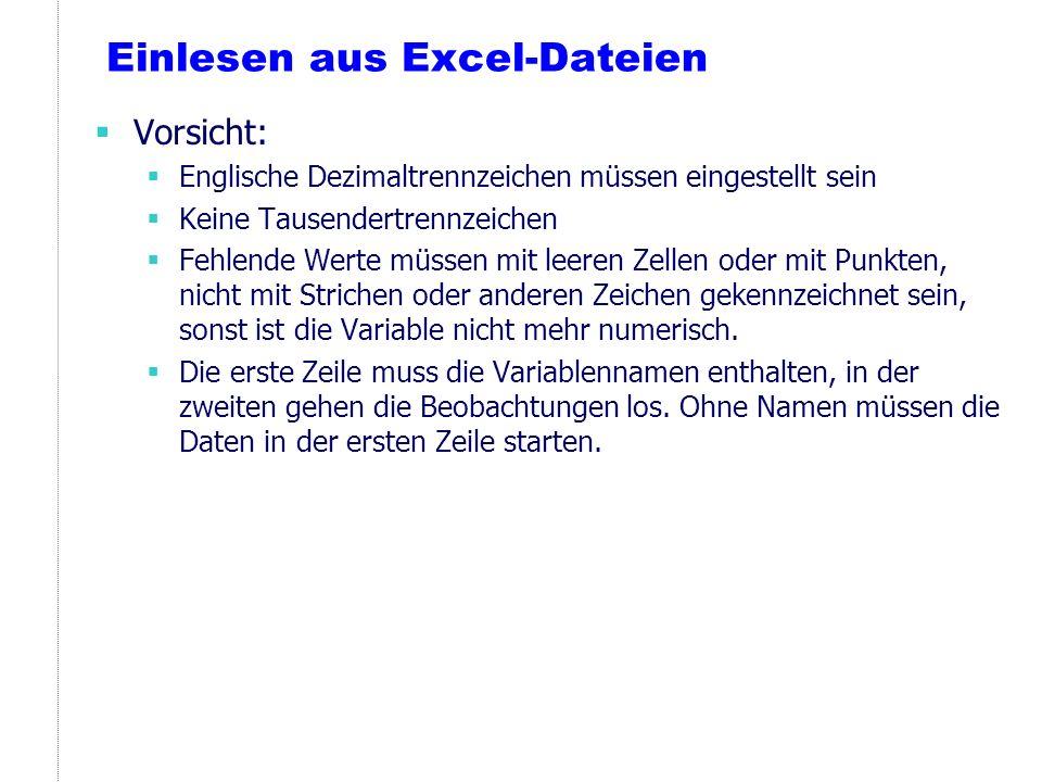 Einlesen aus Excel-Dateien