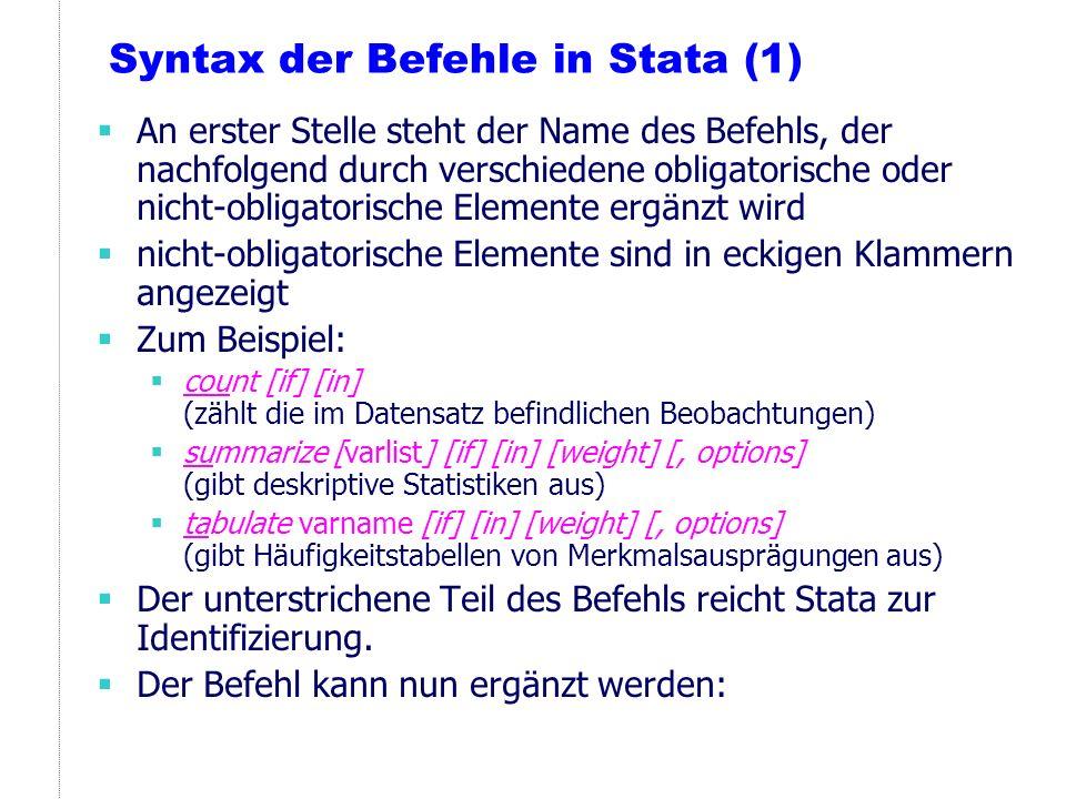 Syntax der Befehle in Stata (1)