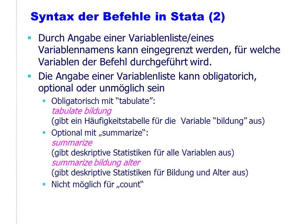 Syntax der Befehle in Stata (2)