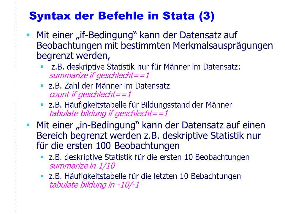 Syntax der Befehle in Stata (3)