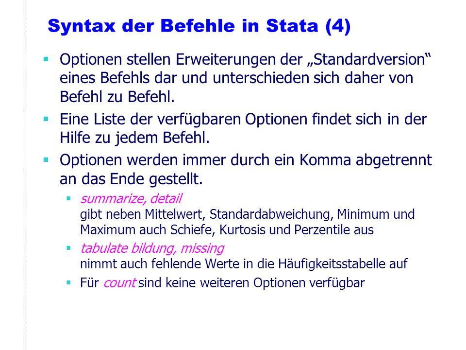 Syntax der Befehle in Stata (4)