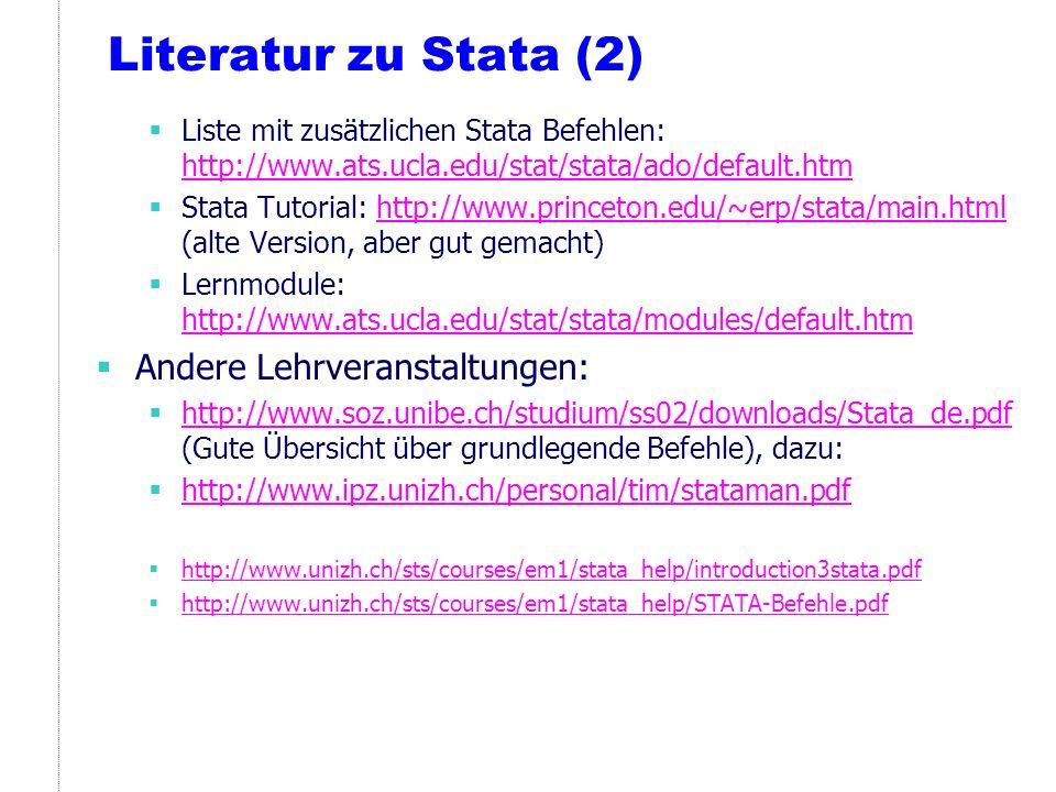 Literatur zu Stata (2) Andere Lehrveranstaltungen: