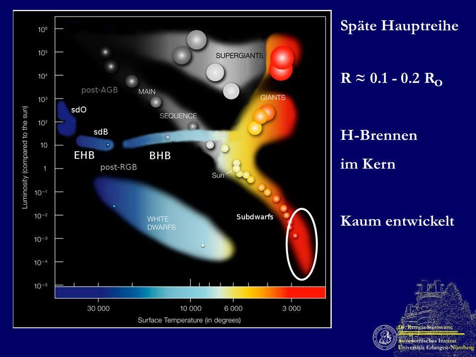 Späte Hauptreihe R ≈ 0.1 - 0.2 RO H-Brennen im Kern Kaum entwickelt