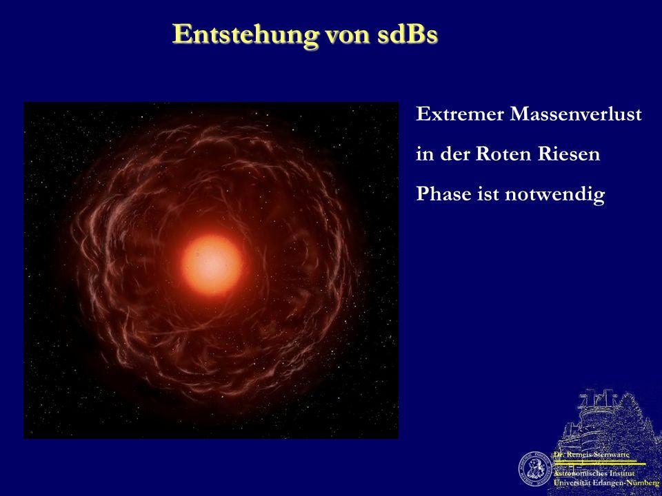 Entstehung von sdBs Extremer Massenverlust in der Roten Riesen