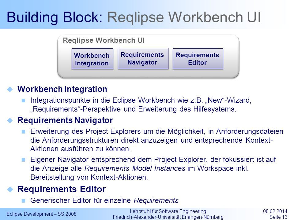 Building Block: Reqlipse Workbench UI