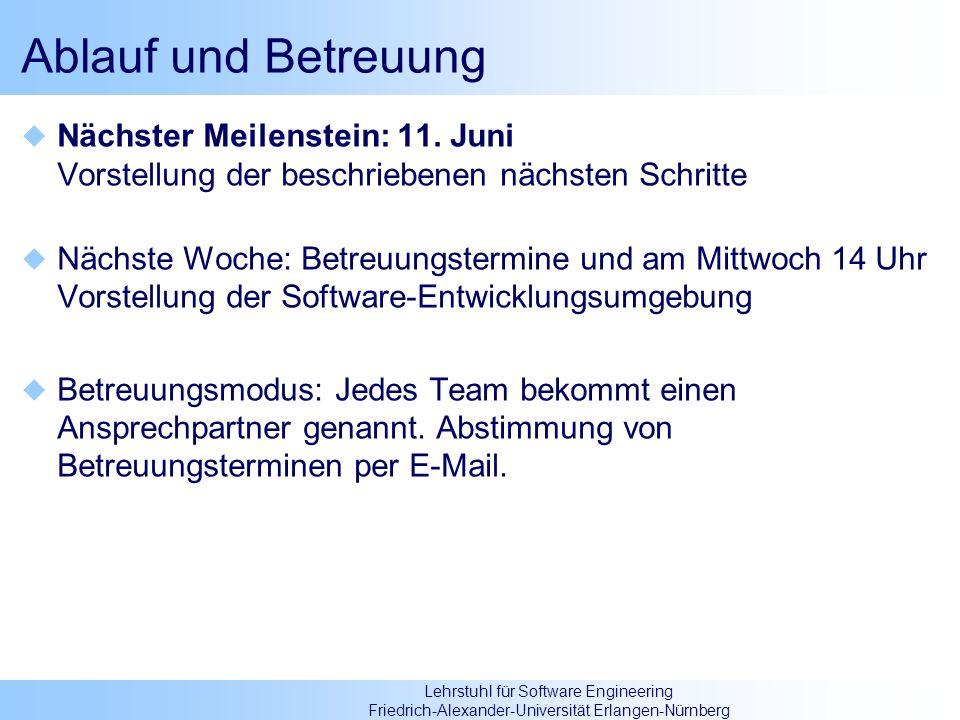 Ablauf und Betreuung Nächster Meilenstein: 11. Juni Vorstellung der beschriebenen nächsten Schritte.