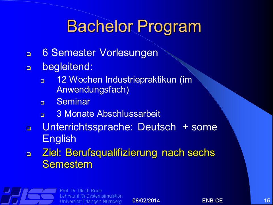 Bachelor Program 6 Semester Vorlesungen begleitend: