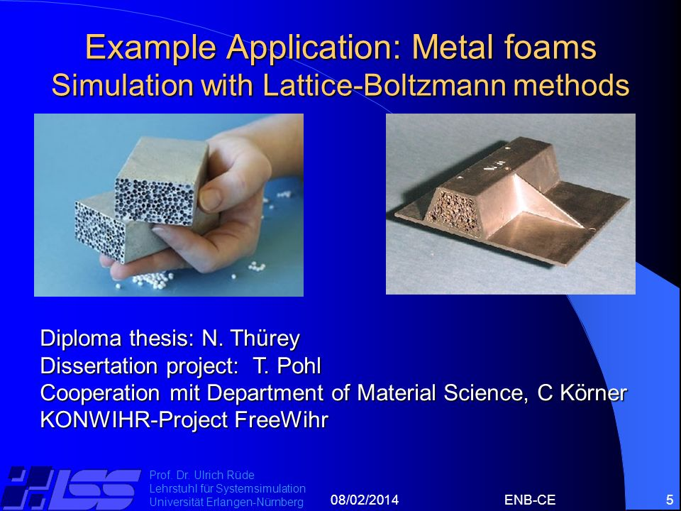 Example Application: Metal foams Simulation with Lattice-Boltzmann methods