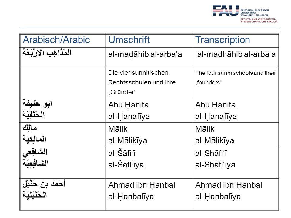 Arabisch/Arabic Umschrift Transcription المَذاهِب الأرْبَعَة