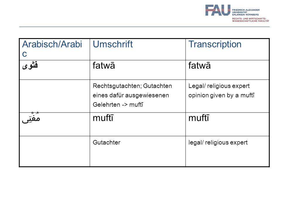 Arabisch/Arabi c Umschrift Transcription فَتْوى fatwā مُفْتِى muftī