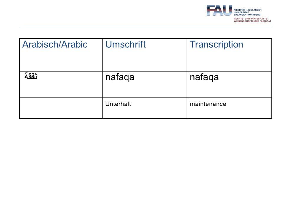 Arabisch/Arabic Umschrift Transcription نَفَقَة nafaqa Unterhalt