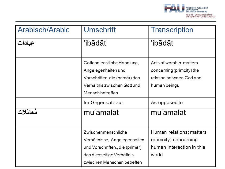 Arabisch/Arabic Umschrift Transcription عِبادات ʿibādāt مُعامَلات