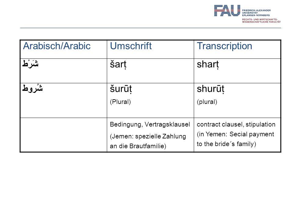 Arabisch/Arabic Umschrift Transcription شَرْط šarṭ sharṭ شُروط šurūṭ