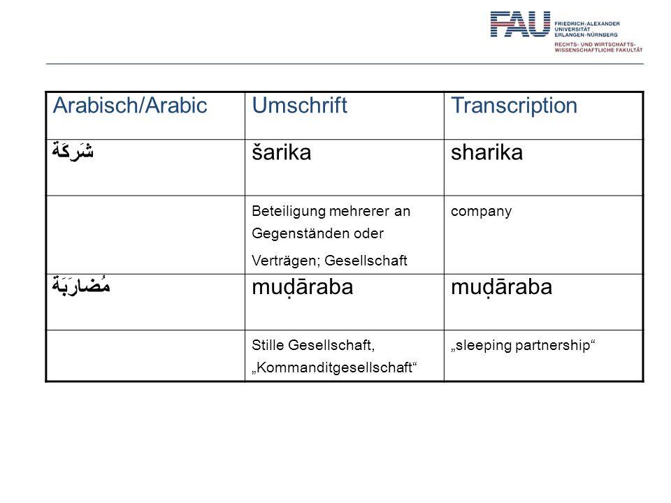 Arabisch/Arabic Umschrift Transcription شَرِكَة šarika sharika