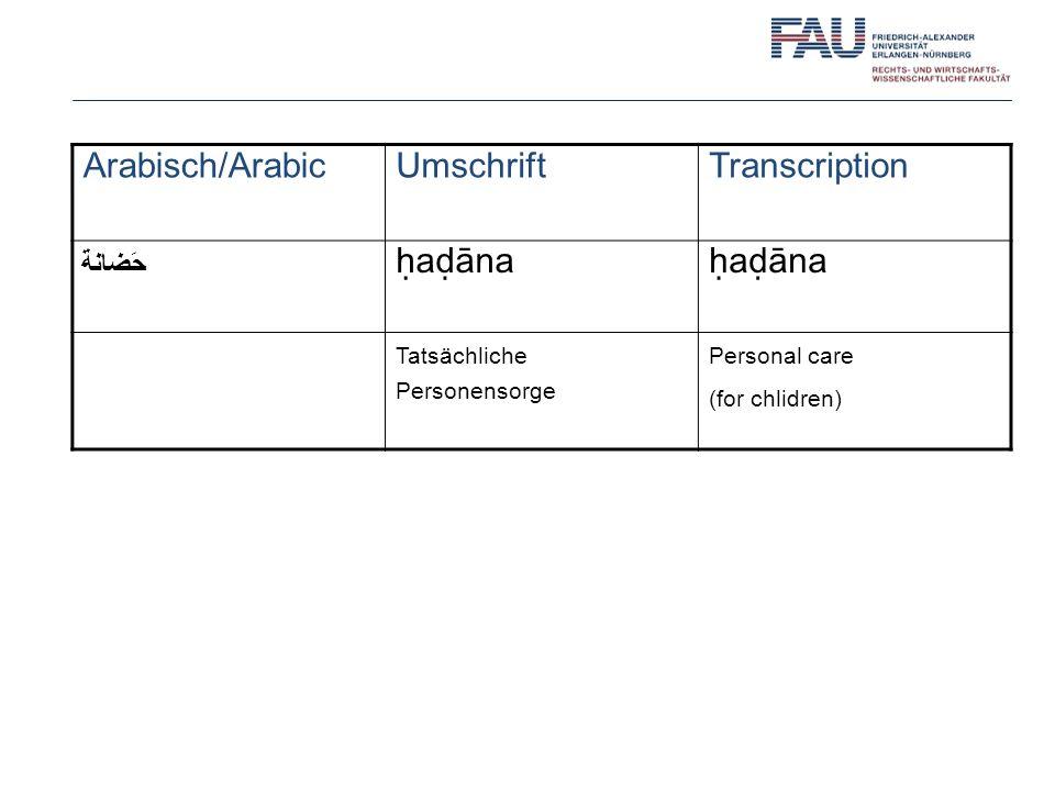 Arabisch/Arabic Umschrift Transcription ḥaḍāna حَضانة